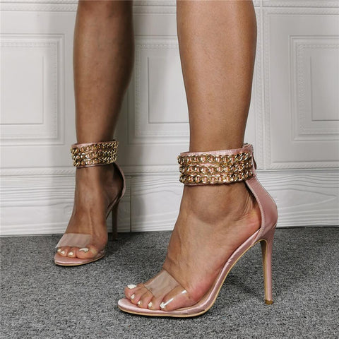 Pink Open Toe Rhinestone High Heel Sandals