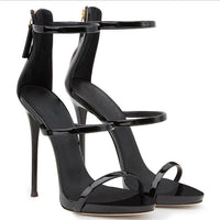 Simple Style Zipper Stiletto Heel Ankle Strap High Heel Sandals