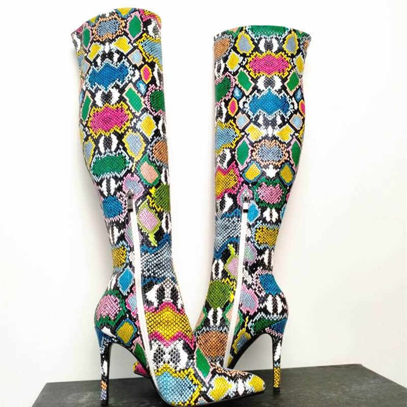 Party Snakeskin Point Toe Knee High Boots