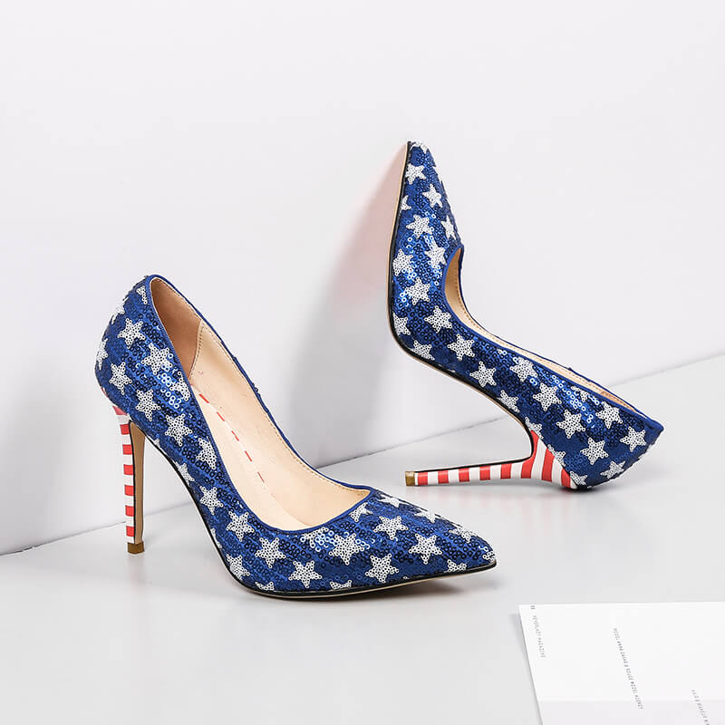 Blue Sequin Leather Stripes Pointed Toe Stiletto Heel Pumps