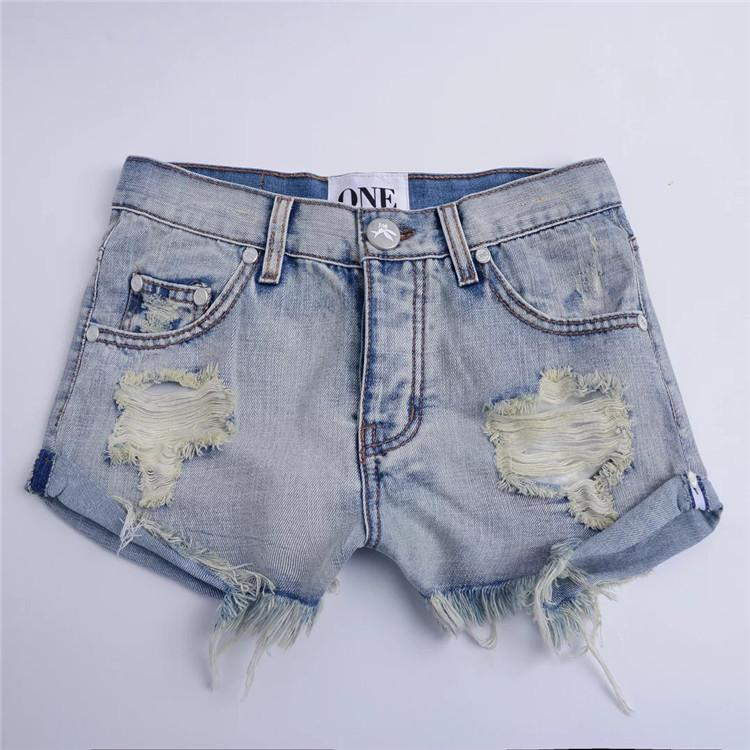 Pure Color Irregular Denim Curled Hole Loose Shorts
