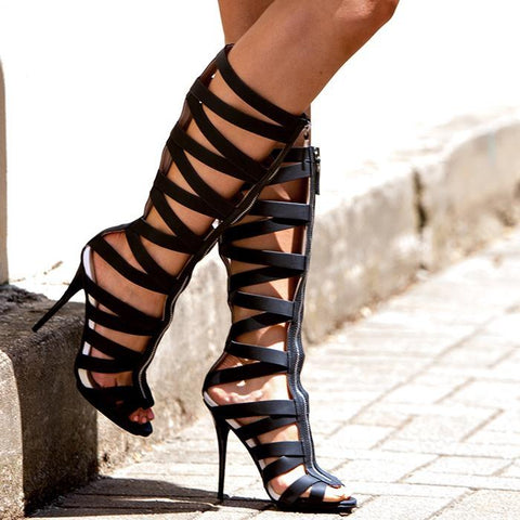 Black Leather Cutout Peep Toe Knee High Sandals