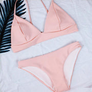 Spaghetti Straps V-neck Candy Color Bikini Set