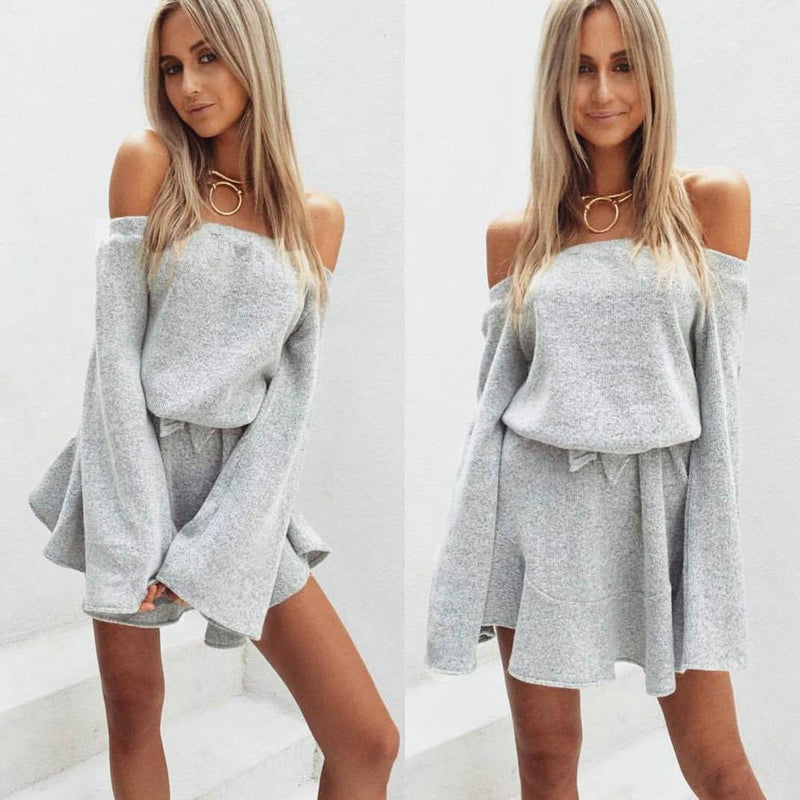 Pure Color Off Shoulder Long Sleeves Short Dress