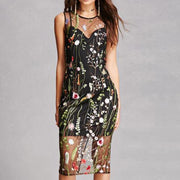 Flower Embroidery Transparent Faux Two Pieces Knee-length Dress