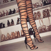 Straps Open Toe Stiletto High Heel Long Boot Gladiator Sandals