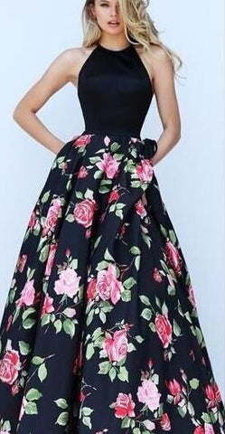Halter Sleeveless Flower Print Patchwork Flared Maxi Dress - Shoes-Party - 1