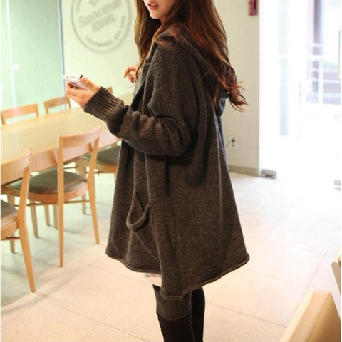 Loose Solid Color Lapel Pockets Long Cardigan