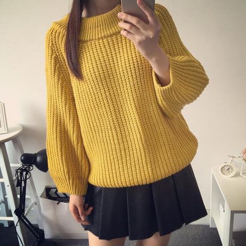 Scoop Long Lantern Sleeves Solid Color Loose Sweater