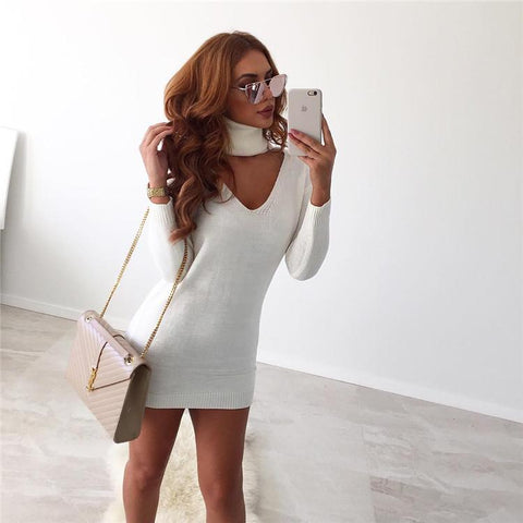 Halter High V-neck Cut Out Loose Long Sweater