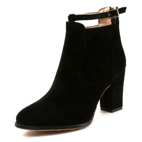 Suede Pure color Zipper Chunky Heel Pointed Toe High Heels Ankle Boots