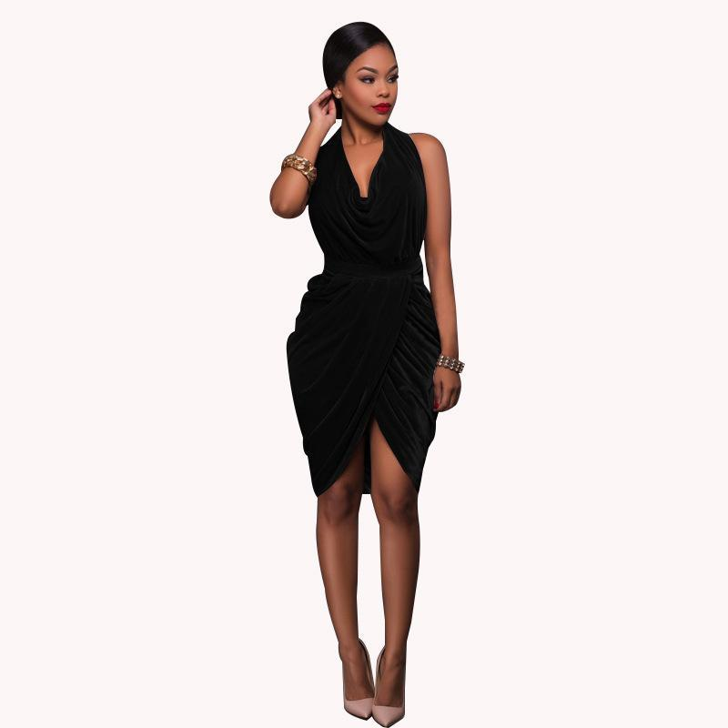 Deep V-neck Halter Backless Irregular Knee-Length Dress