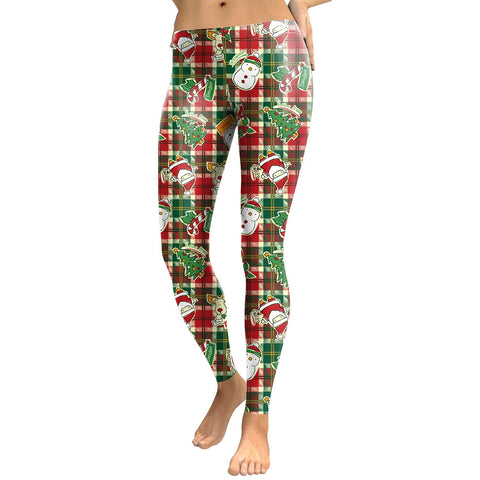 Snowman and Santa Claus Print Women Skinny Christmas Party Legging