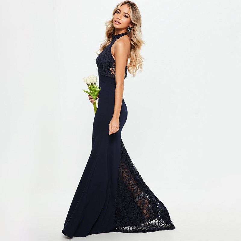 Hollow-Carved Lace Halter Mermaid Dress