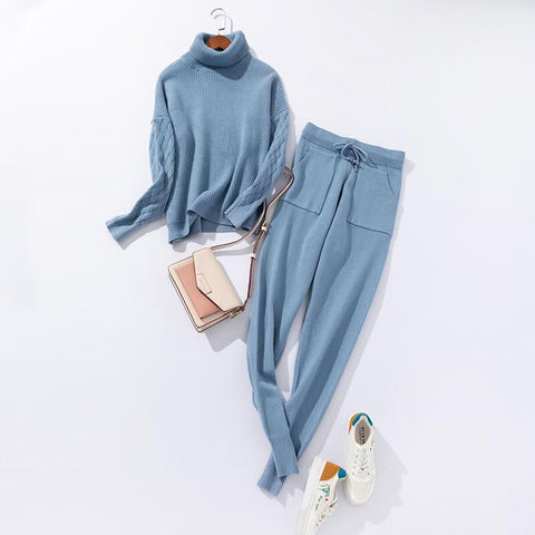 High Neck Blouse Pencil Pants Set