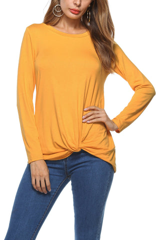 Pure Color Round Neck Irregular Loose Sleeve Blouse