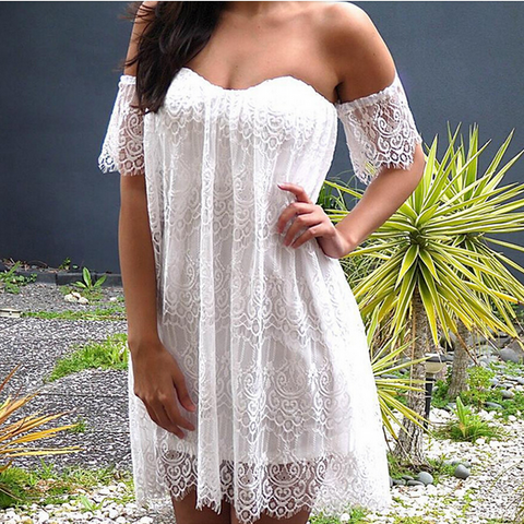 Lace Backless Off Shoulder Irregular Short Dress