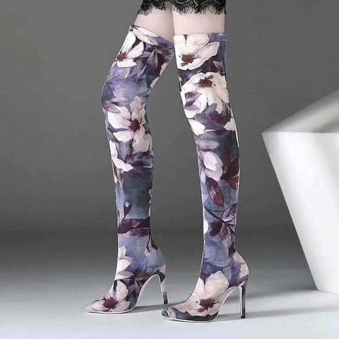 Peep Toe Lace Up Printing Thigh High Boots