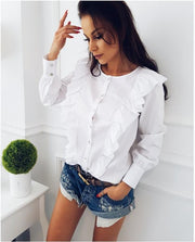 Scoop Pure Color Long Ruffle Sleeves Blouse