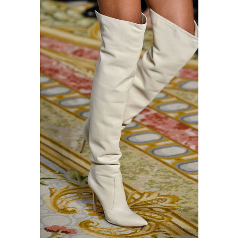 White Leather Pointed Toe High Heel Knee High Boots