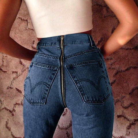 High Waist Pure Color Slim Back Hip Zipper Pencil Denim Jeans Pants