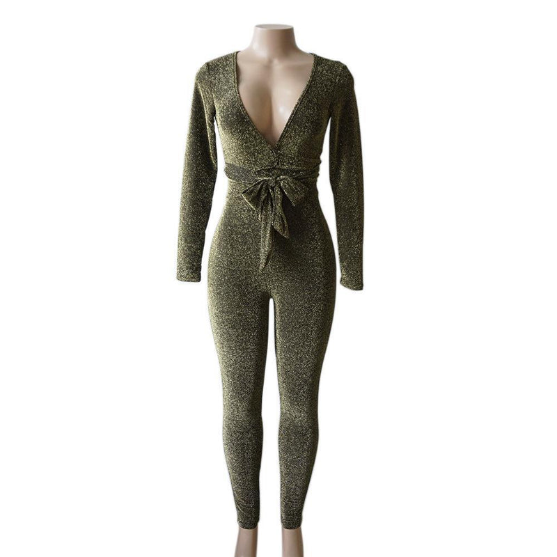 Deep V-neck Long Sleeves High Waist Long Skinny Jumpsuits