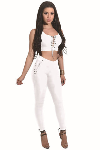 Straps Crop Top with Skinny Pants Two Pieces Set