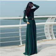 Long Sleeves Chiffon Button Decorate Pleat Long Maxi Dress - Shoes-Party - 4