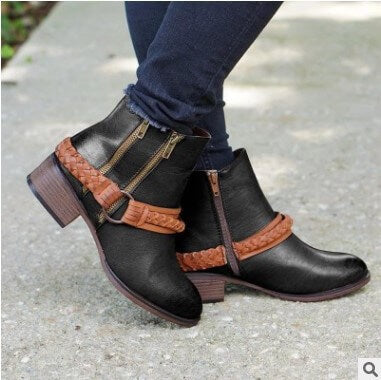 Middle Chunky Heel Zipper Ankle Boots