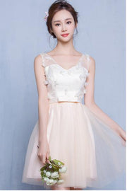 V-neck Tulle Flowers Back Lace Up Empire Short Party Bridesmaid Dress