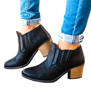 Retro Middel Chunky Heel Round Toe Ankle Boots
