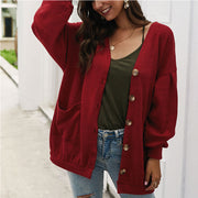 Oversized V Neck Pockets Button Up Cardigan