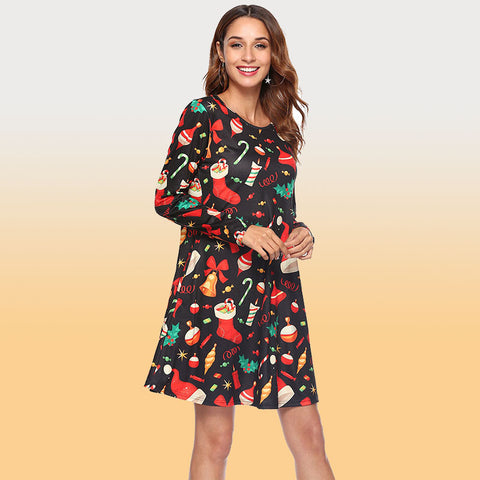 Cute Christmas Cartoon Print A Line Dress