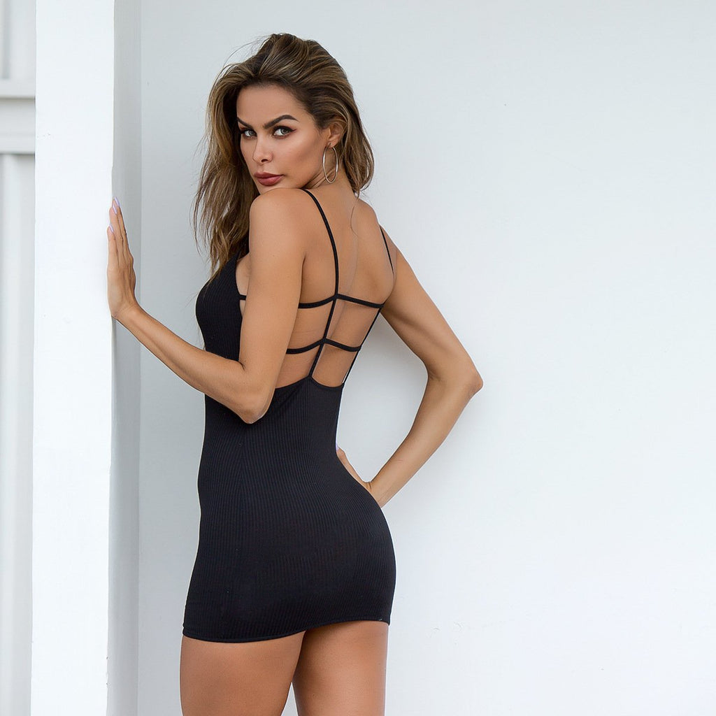 Black open back high waist Dress