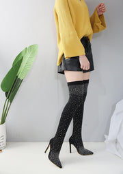 High elasticity Suede Sequins Stiletto High Heels Over the Knee Boots