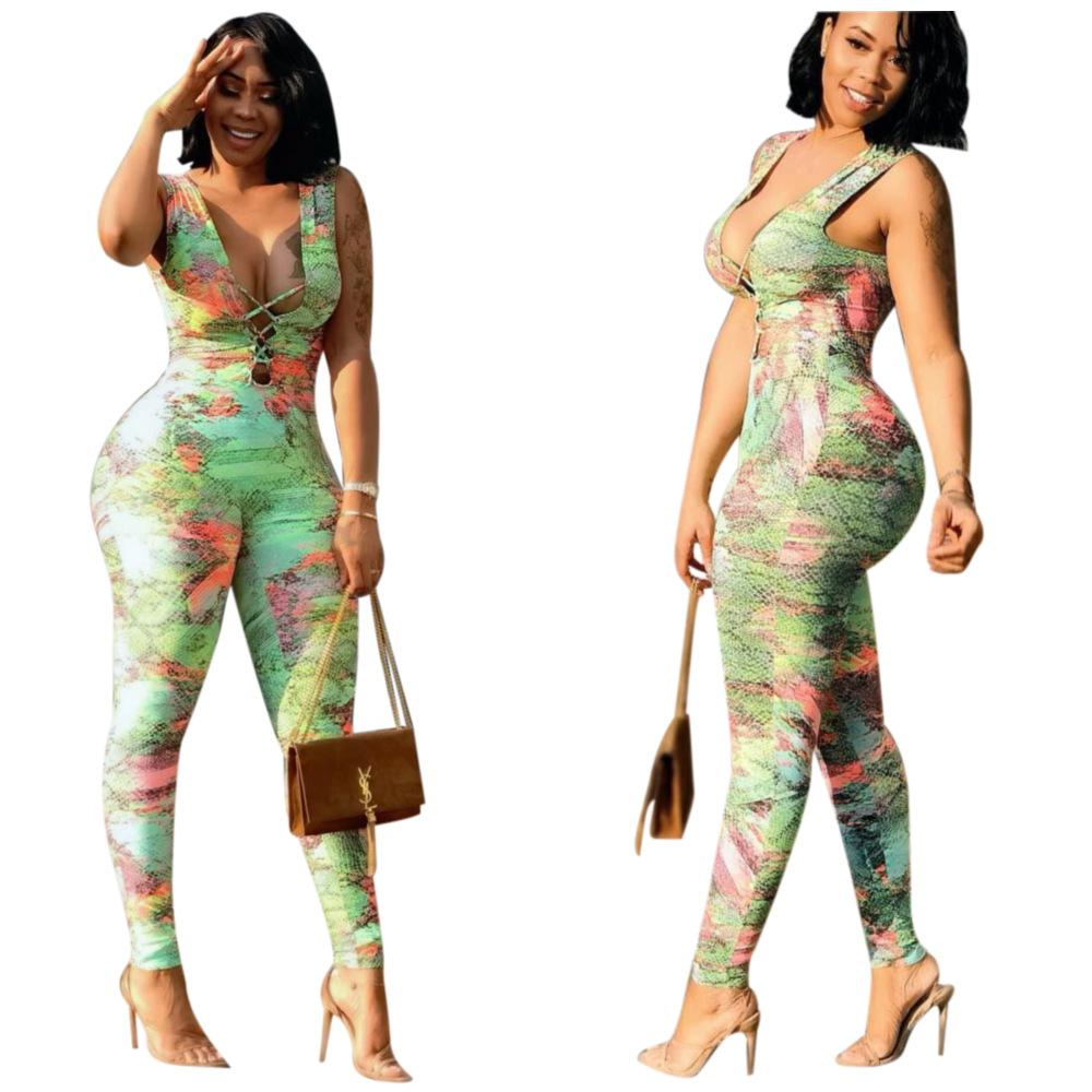 Multi color printing strap off shoulder Jumpsuit