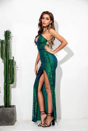 Blackless Sequin Party Long Dress