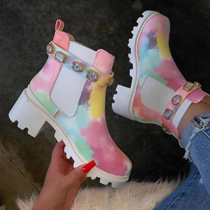 Colorful Rhinestone Watercolour Heeled Chelsea Boots