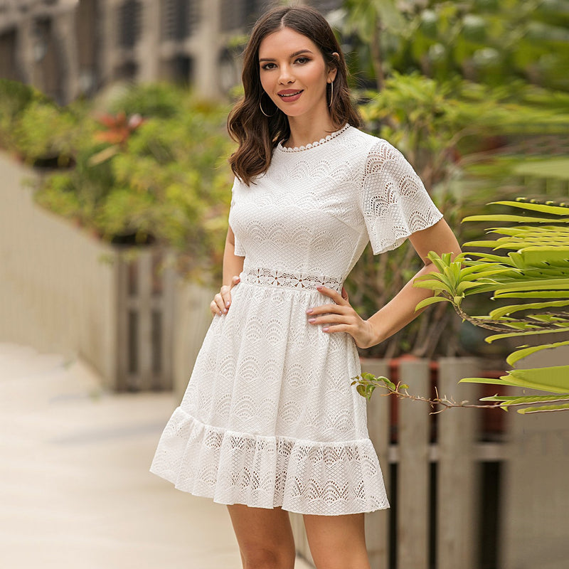 Short Sleeve Solid Lace Up Cut Out Casual Dress