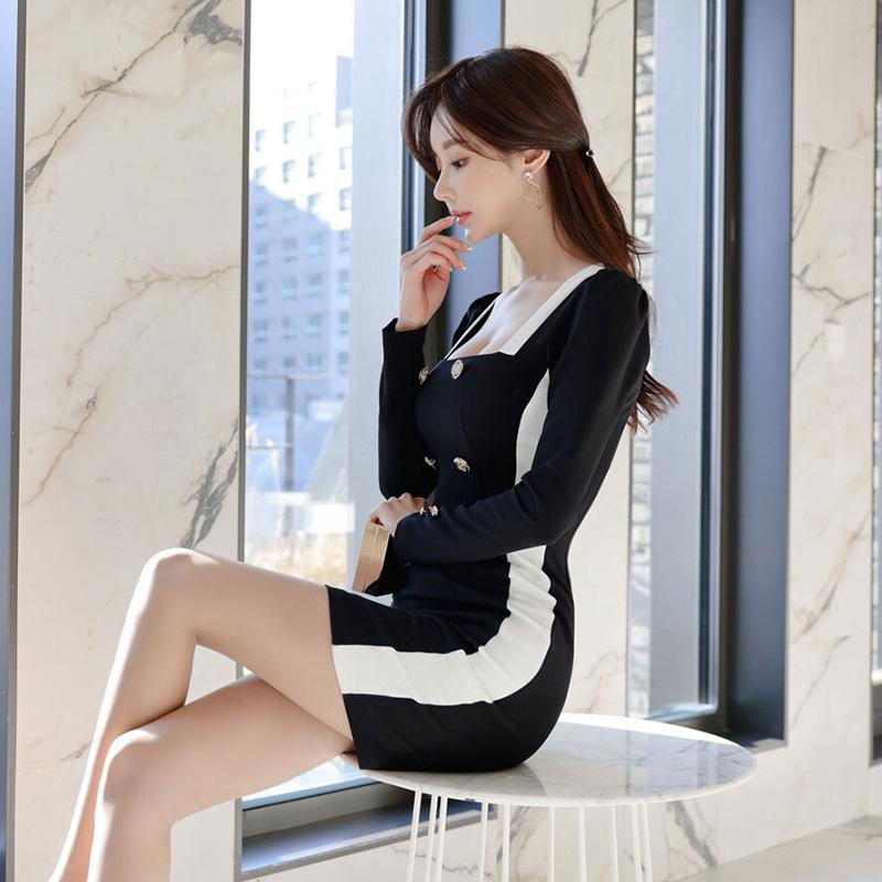 Long Sleeve Fashion Slim Pencil Dress