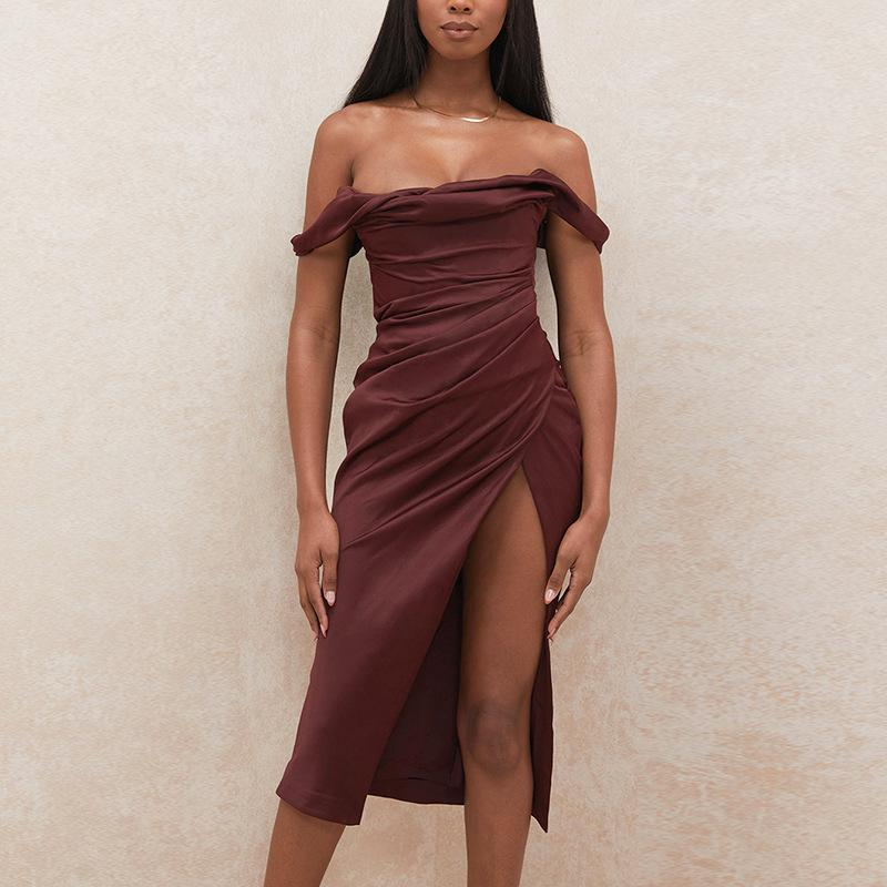 Off shoulder pile collar pleated split suspender Dress
