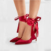 Sexy Red Strap Bow Pointed Toe Pumps