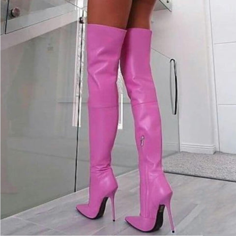 Leather Pointed Toe Zipper High Heel Thigh High Boots