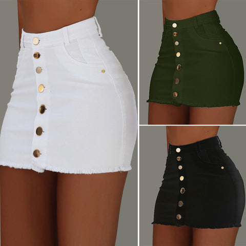 Sexy Bodycon Buttons High Waist Mini Skirts