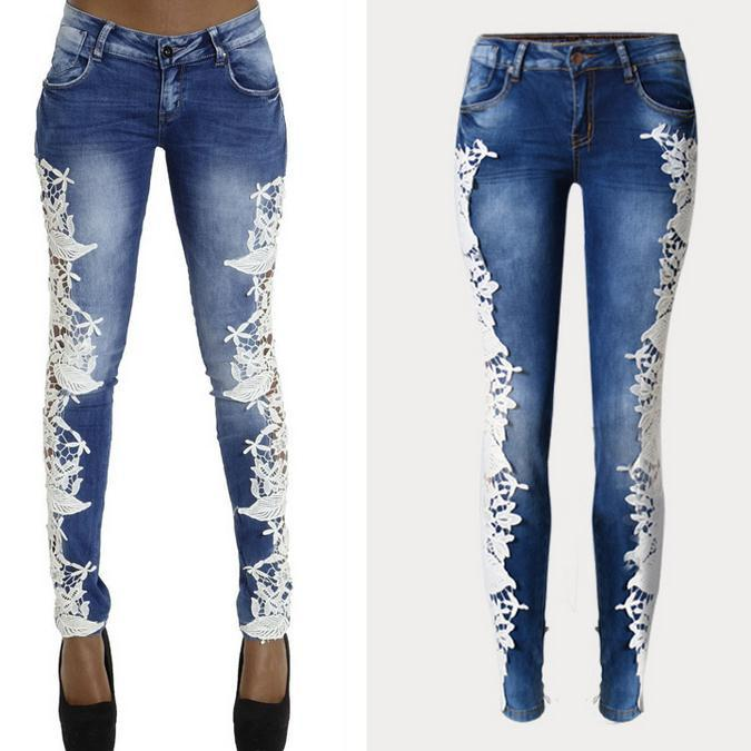 Lace Patchwork Hollow Skinny Straight High Waist Jeans - Meet Yours Fashion - 2