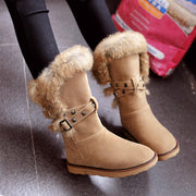 Winter Snow Flat Fur Rivet Short Boots
