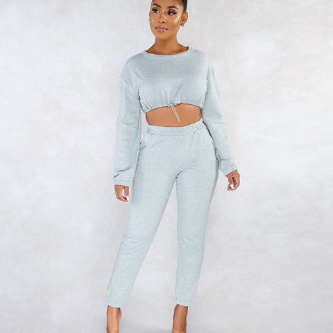 Long Sleeves Crop Top High Waist Skinny Pants Set