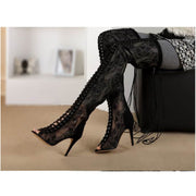 Black Peep Toe Lace Strap Thigh High Boots