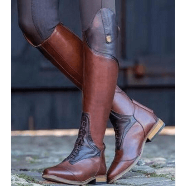 Brown Leather Patchwork Knee High Boots