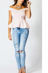 Middle Waist Cut Out Rough Holes Long Skinny Pants Jeans
